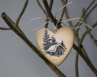 Christmas Decoration Terracotta Heart Xmas Ornament With Winter Log Cabin Winter Lodge Rustic Christmas Decor Christmas Tree Hanging