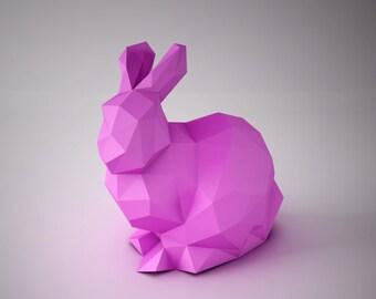 DIY PAPER SCULPTURES  - Cute Bunny Paper Template
