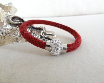 EXPRESS SHIPPING,Womens Charm Bracelet,Red Snake Leather Bracelet,Rhistone Magnetic Clasp Bracelet,Cuff.Bangle Bracelet,Mother's Day Gifts