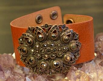 ON SALE,Leather Cuff Bracelet, Floral, Camel Leather Cuff, Black Swarovski Crystals, Cuff Wristband, Bohemian, Genuine Leather, Flowers