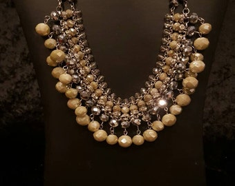 Tan and Reflective Beaded Collar Necklace