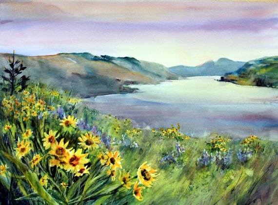 Columbia Gorge 256 -- a signed print of a watercolor painting by Columbia Gorge artist Bonnie White