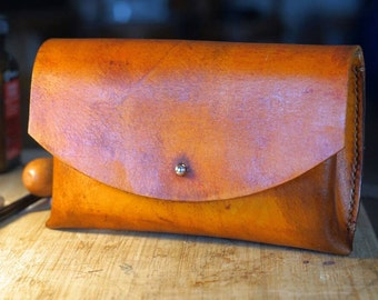 Prototype Sale  !! - Handstitched Clutch - Genuine Vegetable Tan Leather