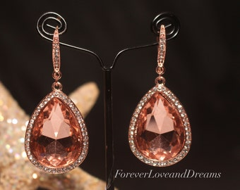 rose gold bridesmaids earrings,  rose gold rhinestone earrings, rose gold bridal earrings, gold wedding earrings,  gold prom earrings