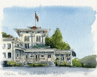 "5""x7"" Original Watercolor Painting - Gelston House in East Haddam, CT"