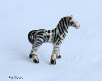 miniature zebra ceramic, terrarium decor