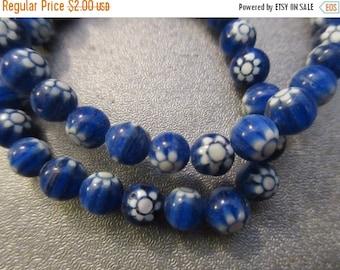 ON SALE Chevron Round Blue Beads 57pcs
