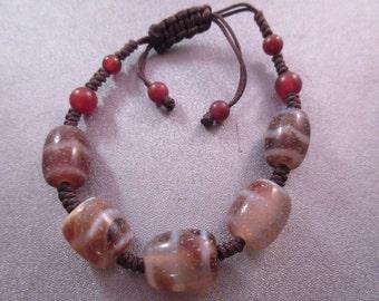 Tibetan Wave Dzi Agate Adjustable Shamballa Bracelet