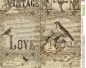 Art Print | Letters from France | Decoupage card | Vintage Decoupage | Decoupage Napkins | Decoupage Paper | Art Paper | Scrapbooking Paper