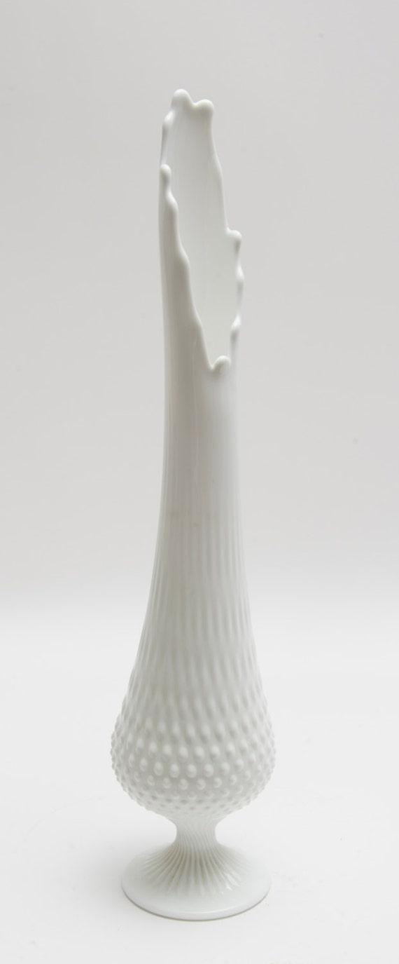 Vintage stretched Milk Glass vase