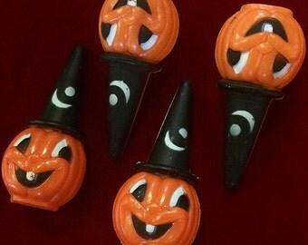 Vintage Halloween Pumpkin Witch Toy