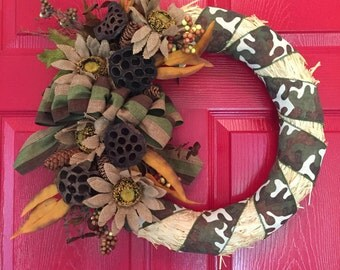 Rustic Camouflage Straw Wreath
