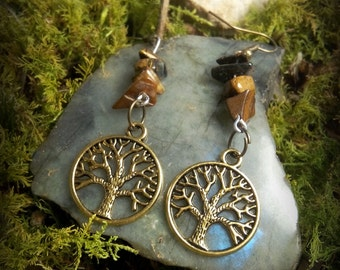 Earrings bronze tree of life gold and Tiger eye stones