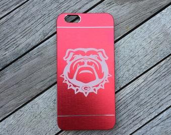 Laser etched University of Georgia bulldogs brushed aluminum iPhone 6/6s case - college pride - georgia alumni - georgia student