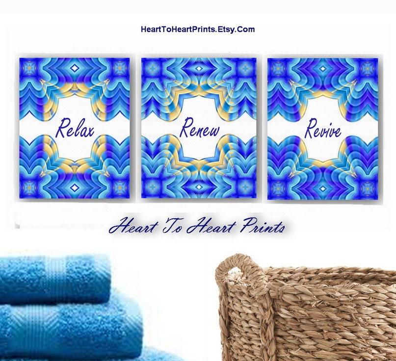 Bathroom wall decor aqua royal blue shabby by for Bathroom decor royal blue