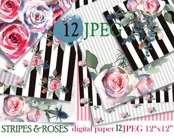 Roses Peonies Stripes Digital Design Paper 12 sheets Hand Painted Watercolor Floral Pattern Instant Download Roses & Blue Thistle Paper Pack