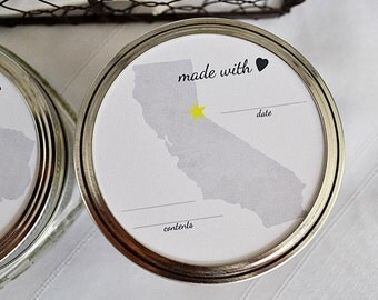 Printable Custom Canning Toppers or Favors - US State Design Set of 3-inch or 2.5-inch for Mason Jars