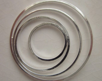6 Silver Plated Circle within Circle Jewelry Components 30mm