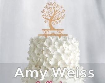 Wedding Cake Topper - Tree and birds - AW1009W