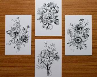 4x6 Floral Prints- Set of 4