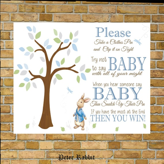 Peter Rabbit Take A Pin Sign Baby Shower Games By