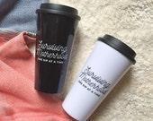 Surviving Motherhood - one sip at a time™ || Travel tumblers || Motherhood wine glass || Stemless glass || Coffee mug || Travel mug for moms