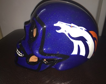 Mexican Calavera skull helmet NFL Denver Broncos Candle Holder