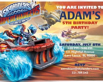 Skylanders SuperChargers Inspired Birthday Party Invitation - Personalized Digital File by Hulles