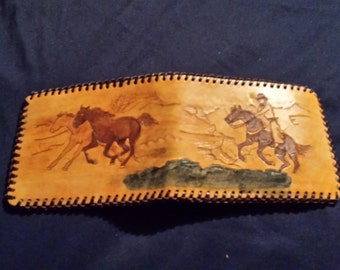 Mountain range leather wallet