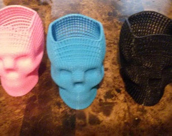Wire Mesh Skull Container Various Colors Free US Shipping