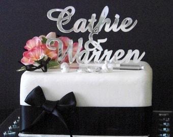 Wedding Cake Topper or Engagement Cake Topper - Bride & Groom names -  by VividLaser
