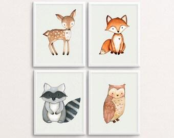 Woodland Nursery, Woodland Animal Print, Nursery Wall Art, Fox Print, Racoon Printable, Deer Poster, Animals Nursery Decor, Forest Animals