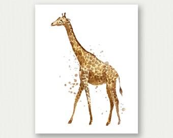 Watercolor Giraffe Painting, Watercolor Giraffe Print, Giraffe Splatter Print, Giraffe Printable, Giraffe Nursery Art, Giraffe Nursery Decor