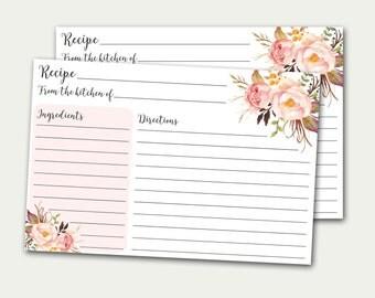 Recipe Card Printable, Bridal Shower Recipe Card, Recipe Card, DIY Recipe Card, Floral Recipe Card, Recipe Card Printable, Roses Recipe Card