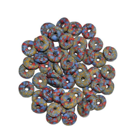 Re fashioned glass seed bead discs spacers handmade african for Glass discs for crafts