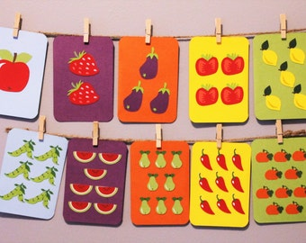 Numbers Flash Cards with Fruits and Veggies