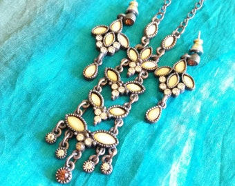 Vintage Set, Necklace and Earring, 1928 Antique Gold Tone Rhinestones