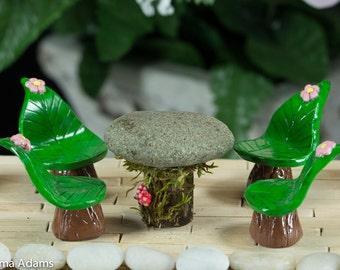Fairiy Table Set, Miniature Table Set, Whimsical Dining, Fairy Fantasy Set, Fairy Garden Decor, Polymer Clay Leaf Chairs, Handmade, Mini