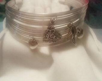 Fairy tale charm cuff bracelet