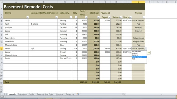 Basement remodel costs calculator excel template for Basement cost calculator