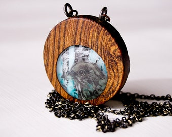 Wood Thrush Bird - Glass and Wood - Woodlands Necklace