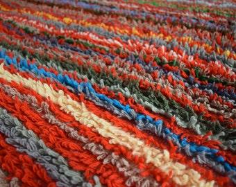 Retro Handmade Shaggy Striped Crochet Banket