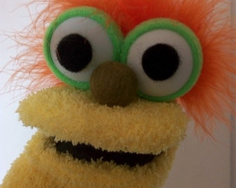 Yellow sock puppet , Moving mouth pupppet ,  hand puppet, Therapy and Educational puppet .