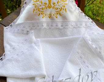 christening towel, Personalized christening blanket, embroidered towel