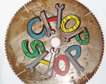 Industrial Metal Chop Shop Sign Man Cave Decor Gifts for Men