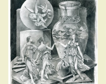 """Pencil drawing """"Muses"""" (15.5"""" x 19.5""""), framed"""