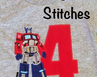 Appliqued Transformers Optimus Prime Birthday Shirt