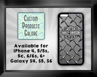 iPhone and Galaxy Cell Phone Cover, Harley Davidson with Diamond plate, Available for iPhone 4, 5/5s, 5c, 6/6s, 6+ and Galaxy S4, S5, S6