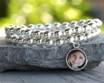 Valentine for Her, Photo Bracelet, Photo Charm Bracelet, Silver Beaded Bracelet, Gift for Mom, Custom Photo Gift, Personalized for Mom, Gift