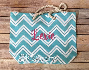Chevron Spring Tote Bags, Beach Bag, Personalized Tote Bag